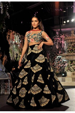 Bollywood style Shraddha Kapoor Black color Bangalori silk lehenga choli