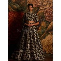 Bollywood model black color raw silk wedding lehenga choli