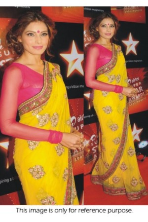 Bipasha Basu yellow saree at airtel superstar awards