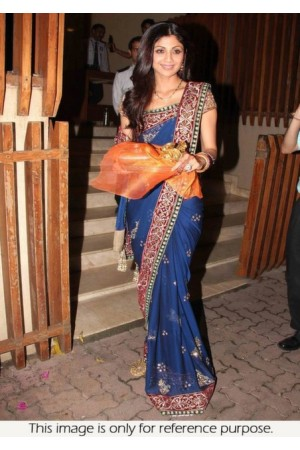 Shilfa shetty Blue Saree