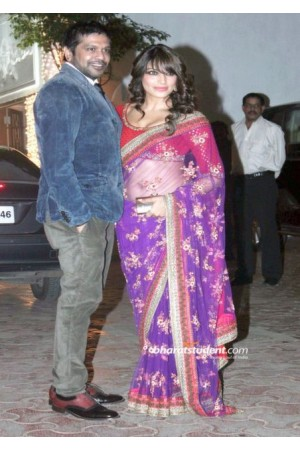 Bipasha Basu at shilpa-shetty-diwali bass violet saree
