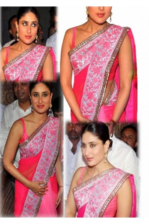 Kareena Kapoor pink shaded saree