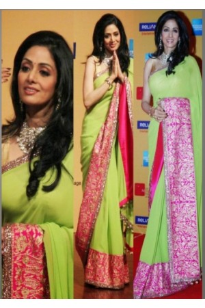 Sridevi Apple Green saree at Mumbai Film Festival Opening Ceremony