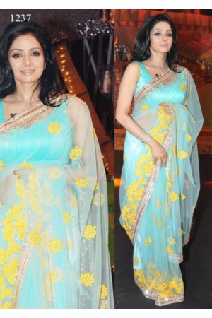 Sridevi sky Blue Color saree