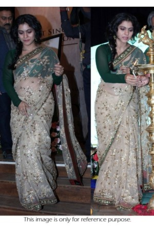 Kajol White and green saree