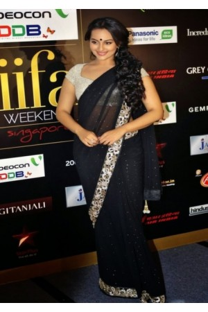 sonakshi sinha black saree