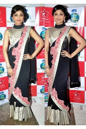 Shilpa shetty black saree at nach baliye set