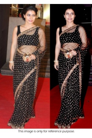 Kajol Black Net Saree