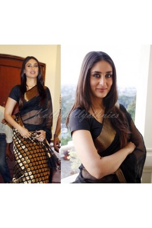 Kareena kapoor black chanderi saree