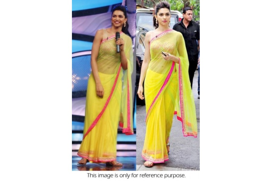 a405990695 Bollywood Style Deepika Padukone Net Saree in Neon Green color