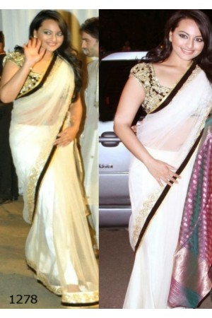 Sonakshi sinha white saree