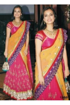 Diya Mirza multi color saree