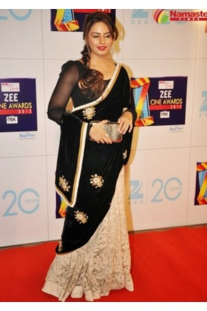 Huma Qureshi Black Saree