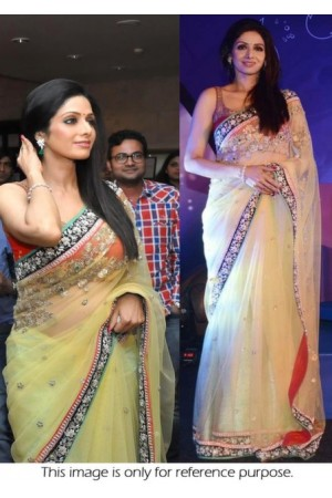 Sridevi pale yellow saree