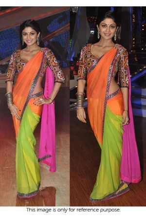Shilpa shetty nach baliye tri color saree