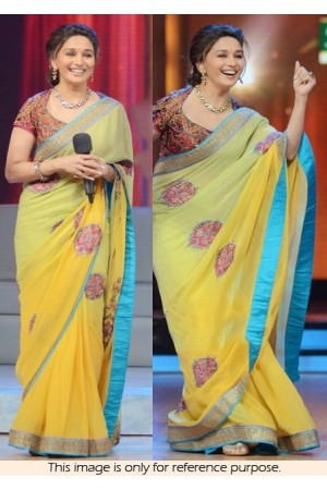 Madhuri dixit yellow party wear saree