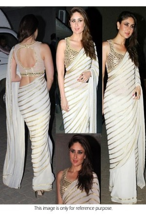 Kareena Kapoor white georgette saree