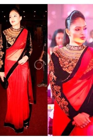 Nikesha Patel red saree