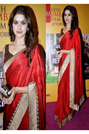 Prachi Desai red saree