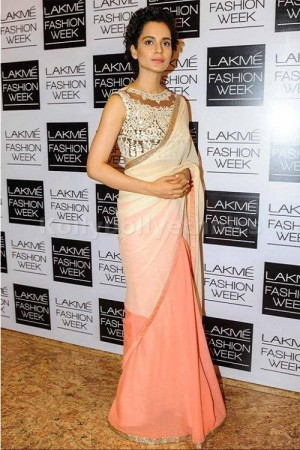 Kangana Ranaut peach shaded bollywood saree