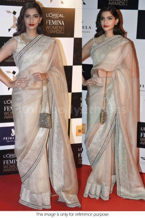 Sonam Kapoor cream colour bollywood saree