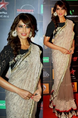 Bipasha basu light brown collour Saree