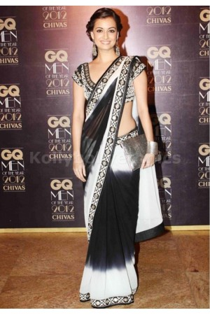 Dia mirza white and black designer Saree