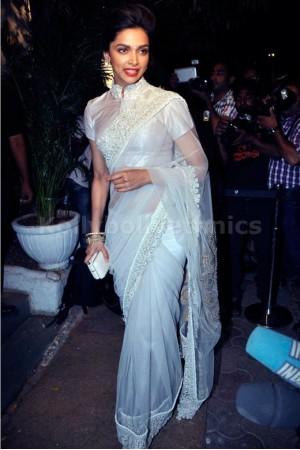 Deepika Padukone sanjay-leela-bansi white designer saree