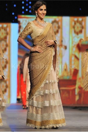 Parizad golden bollywood saree