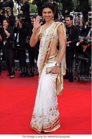 Deepika padukone white and golden border bollywood saree