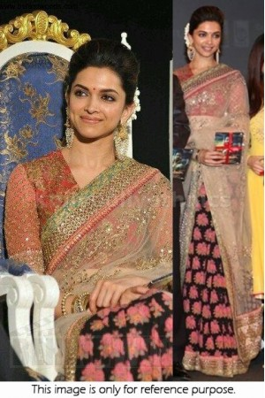 Deepika half and half net bollywood designer saree