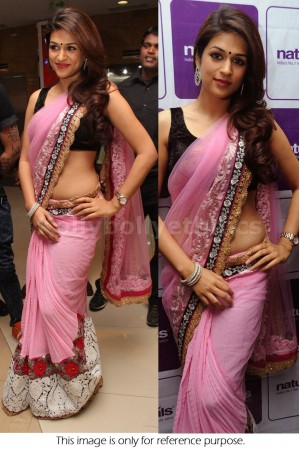 Shraddha das pink embroidered bollywood saree