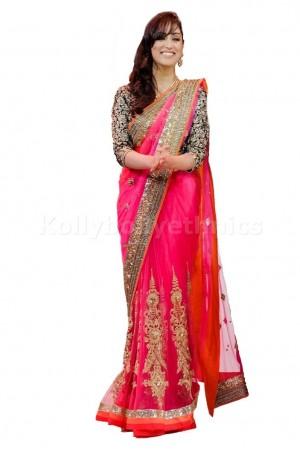 Yami gautam pink bollywood saree