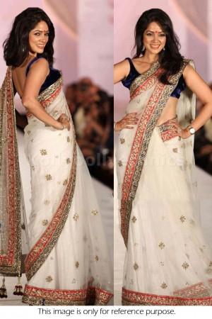 Vidya Malwade white designer bollywood saree