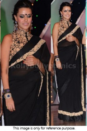 Neha sharma Black designer saree