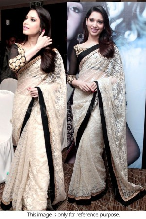 Tamanna Bhatia white and black saree
