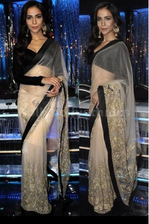 Humaima malik cream and black saree