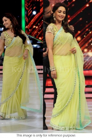 Madhuri Dixit yellow colour saree