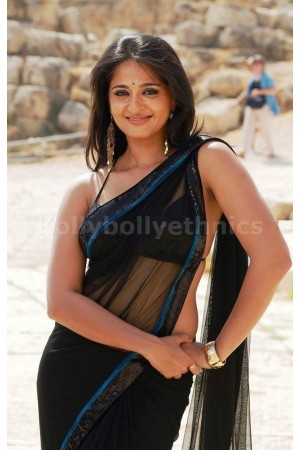 Anushka shetty black net saree