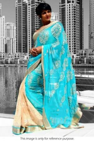 Mandira Bedi sky blue and cream colour saree