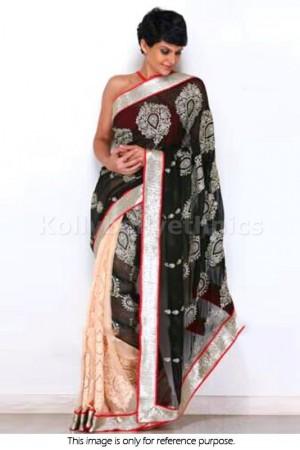 Mandira Bedi Black and cream colour saree