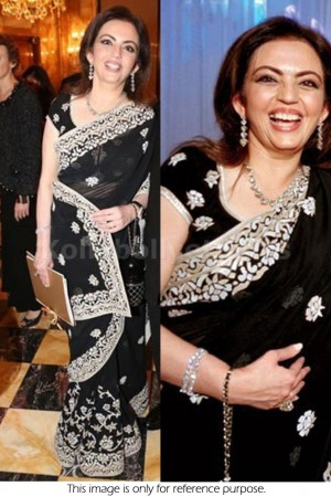 Nita Ambani black saree