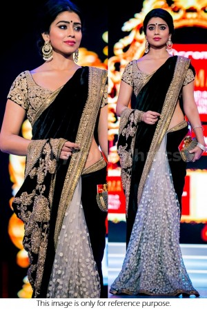 shriya sharan white and black net and velvet saree