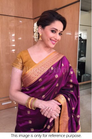 Madhuri Dixit wine colour saree