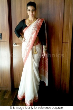 Kajol white and peach border Saree