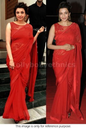 Kajal agarwal red bollywood saree