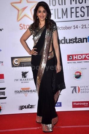Madhuri Dixit black and silver border saree
