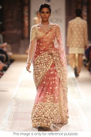 Peach colour fashion week bollywood saree