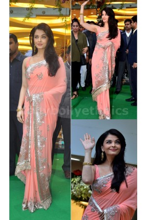 Aishwarya rai peach colour bollywood saree