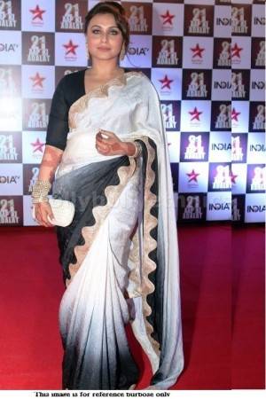 Rani mukherjee white and black shaded saree